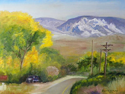 Poster featuring the painting Split Mountain On Golf Course Road by Sherril Porter