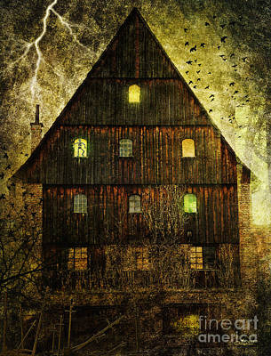 Spooky Old House Poster by Jutta Maria Pusl