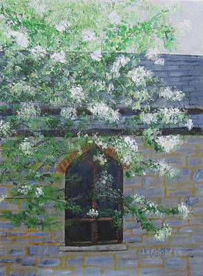 Poster featuring the painting Spring At Grace Church by Linda Feinberg