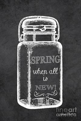 Spring Chalkboard Art-1 Poster by Jean Plout