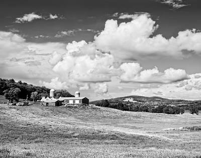 Spring Farm And Hay Field With Clouds In Maine Poster by Keith Webber Jr