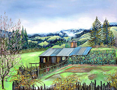 Poster featuring the painting Spring Farm by Asha Carolyn Young