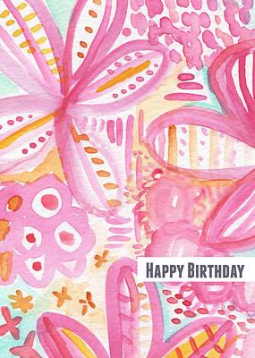 Spring Flowers Birthday Card Poster