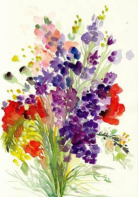 Spring Flowers Bouquet - Floral Watercolor Poster by Tiberiu Soos