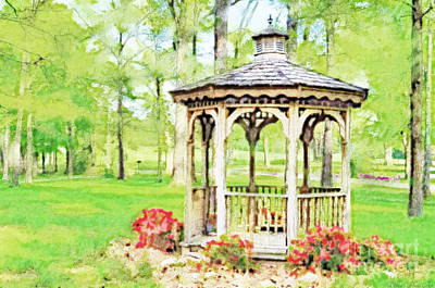 Spring Gazebo Series - Digital Paint 1  Poster by Debbie Portwood