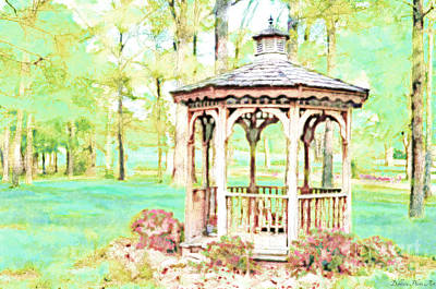 Spring Gazebo Series - Digital Paint II Poster by Debbie Portwood