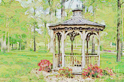 Spring Gazebo Series - Digital Effect  Iv Poster by Debbie Portwood