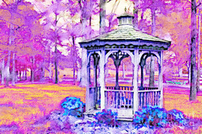 Spring Gazebo Series - Digital Paint V Poster by Debbie Portwood