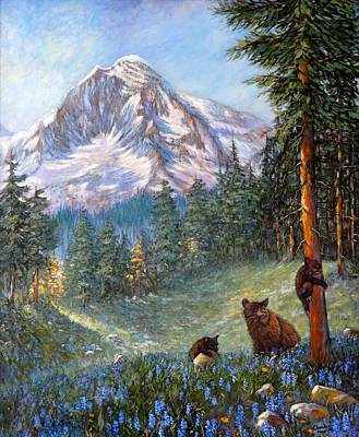 Poster featuring the painting Spring In The Cascades by Charles Munn