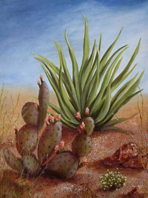 Poster featuring the painting Spring In The Desert by Roseann Gilmore