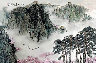 Poster featuring the photograph Spring Mountains And The Great Wall by Yufeng Wang