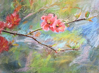 Poster featuring the painting Spring Peach Blosom by Jieming Wang
