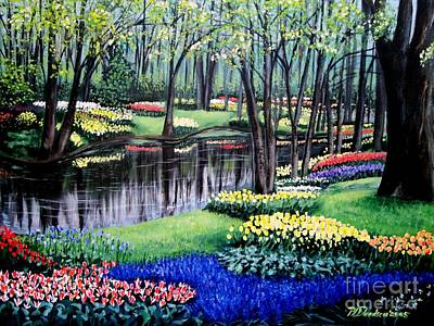 Poster featuring the painting Spring Spendor Tulip Garden by Patricia L Davidson