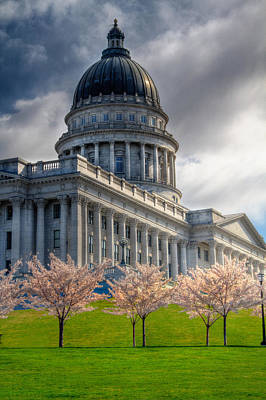Springtime At The Utah State Capitol Building In Salt Lake City Poster by Utah Images