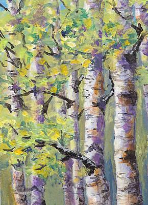 Springtime Birches Poster by Karen Mattson