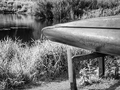 Springtime Canoe Bw Poster by Carolyn Marshall