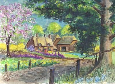 Springtime Cottage Poster by Carol Wisniewski