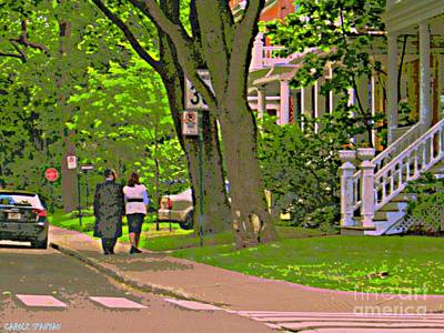Springtime Stroll Through Beautiful Tree Lined Outremont Montreal Street Scene Art By Carole Spandau Poster