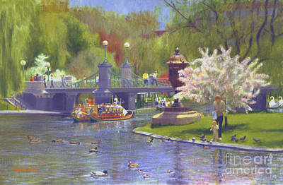 Springtime Swan Boats Poster