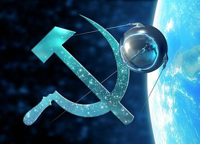 Sputnik And The Russian Hammer And Sickle Poster