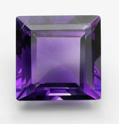 Square Cut Purple Amethyst Gemstone Poster by Dorling Kindersley/uig