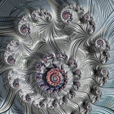 Square Format Abstract Fractal Spiral Art Poster by Matthias Hauser