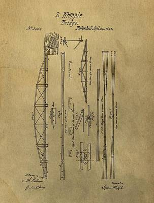 Squire Whipple Truss Bridge Patent Poster