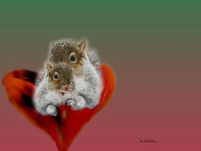 Squirrels Valentine Poster by Mike Breau