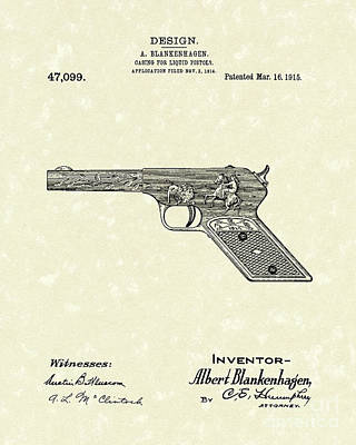 Squirt Gun 1915 Patent Art Poster by Prior Art Design