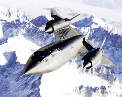 Sr-71 Over Snow Capped Mountains Poster by R Muirhead Art
