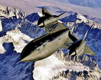 Sr-71 Over The Sierras Poster by Benjamin Yeager
