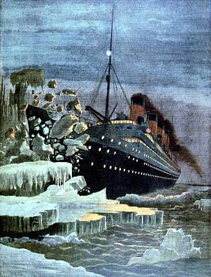 Ss Titanic Colliding With An Iceberg Poster