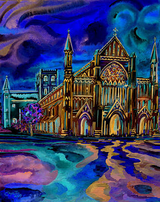 Poster featuring the digital art St Albans Abbey - Night View by Giovanni Caputo