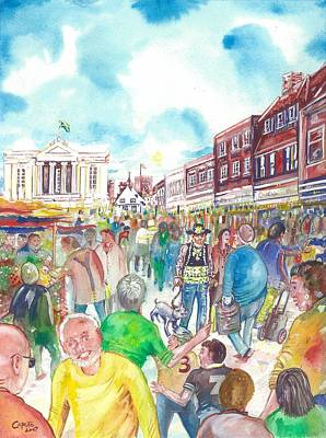 St Albans - Market People Poster by Giovanni Caputo