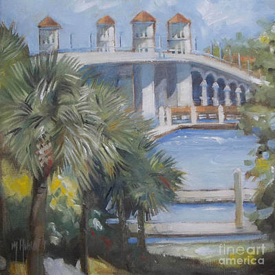 St Augustine Bridge Of Lions Poster by Mary Hubley