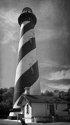 St Augustine Lighthouse Bw Poster by Joan Carroll