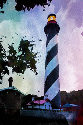 St. Augustine Lighthouse Sunset Poster by David Coblitz