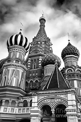 St Basils Cathedral In Moscow Russia Black And White Poster