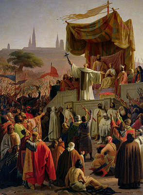 St Bernard Preaching The Second Crusade In Vezelay Poster by Emile Signol