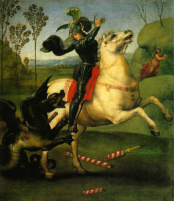 Poster featuring the digital art St George And Dragon Reproduction Art Work by Raphael
