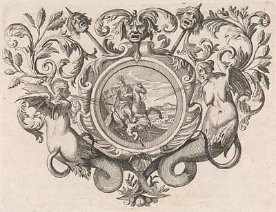 St George On Horseback Piercing A Devil, Print Maker Caspar Poster by Caspar Luyken And Jacob Lindenberg