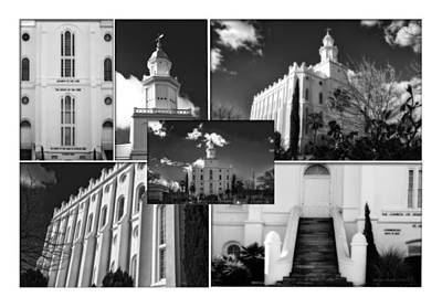 St George Temple Montage Poster by La Rae  Roberts