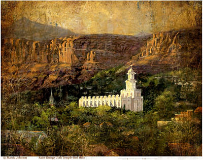 St. George Temple Red Hills Antique Poster
