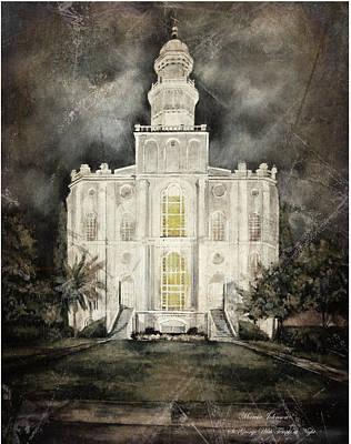 St. George Utah Temple At Night Poster