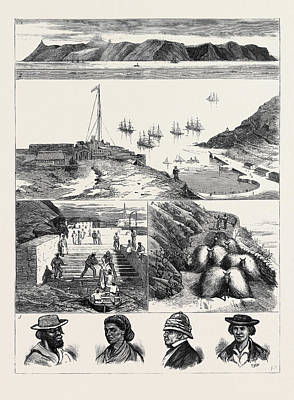 St. Helena 1. View Of The Island From The Sea 2 Poster by English School