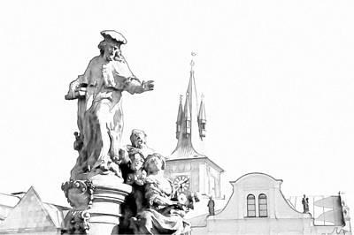 St. Ivo Statue On The Charles Bridge. Prague Poster by Jenny Rainbow