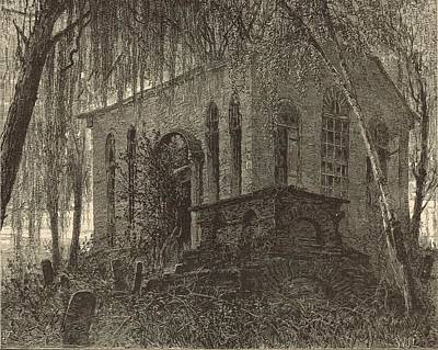 St. James Church Or Goose Creek Church And Cemetery 1872 Engraving Poster by Antique Engravings