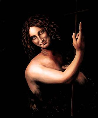 St Jhon The Baptist After Leonardo Da Vinci Poster by Massimo Tizzano