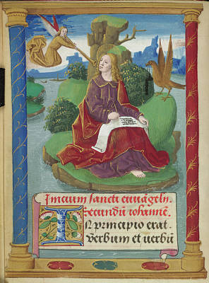 St John Writing His Gospel Poster by British Library