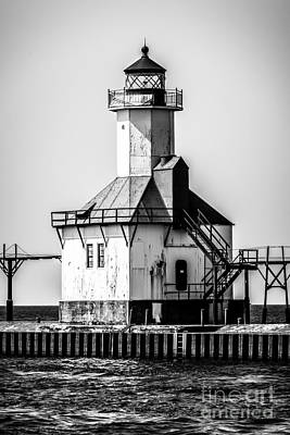 St. Joseph Lighthouse Black And White Picture  Poster by Paul Velgos